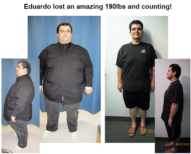 eduardo lose 190 pounds