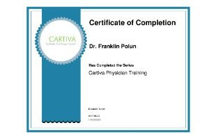 Dr. Polun - Cartiva Certificate of Completion
