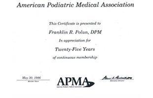 Dr. Polun - APMA Certificate