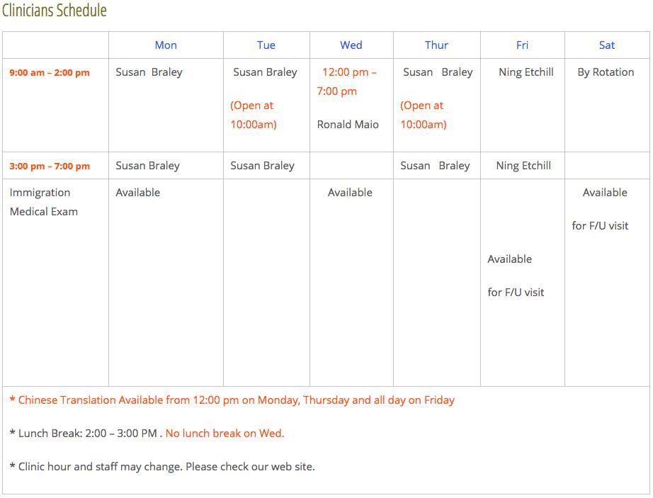 Clinician's Schedule
